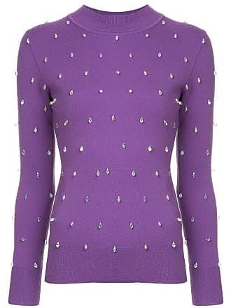 Huishan Zhang Suéter com aplicação de cristal - Roxo