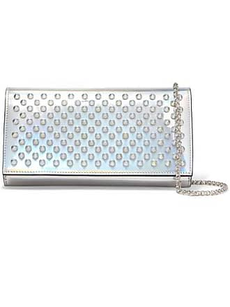 Christian Louboutin Boudoir Spiked Iridescent Leather Shoulder Bag - Silver