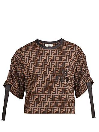 a4be73792e7 Fendi T-shirt en coton à manches froncées et imprimé FF