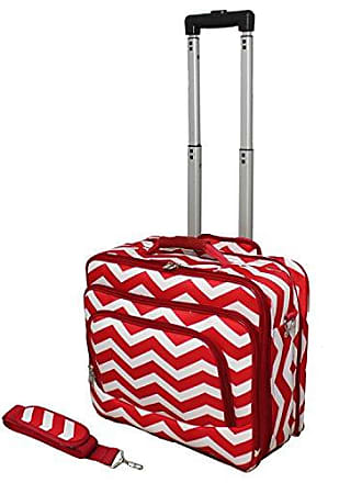 World Traveler Fashion Print Womens Rolling 17-Inch Laptop Case, Red White Chevron, One Size