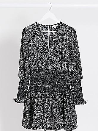 Topshop Tall mini dress with shirred waist in mono print-Black