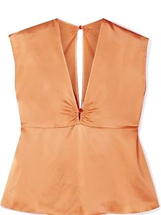 Forte_Forte Hammered Silk-satin Top - Orange
