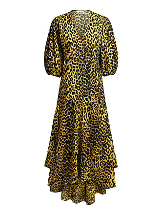 Ganni Bijou Leopard Wrapped Maxi Dress Tan Leopard