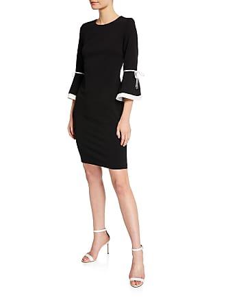 Iconic American Designer Flare-Sleeve Sheath Dress