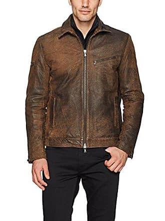 John Varvatos Mens Zip Front Leather Jacket, Caramel, Medium
