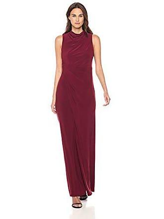 Vera Wang Womens Sleeveless Mock Neck Gown, Burgundy, 6