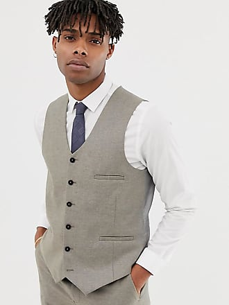 Heart & Dagger slim suit vest in wool - Stone