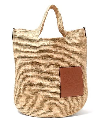Loewe Leather Appliqué Raffia Tote - Womens - Cream