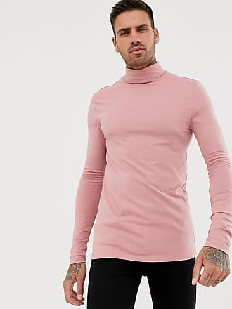 020a6b8c6d50 Asos muscle fit long sleeve roll neck t-shirt with stretch in pink