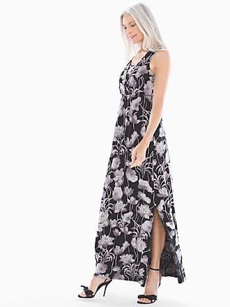 Soma Soft Jersey Surplice Neckline Sleeveless Maxi Dress, Fine Lotus Black, Size XS