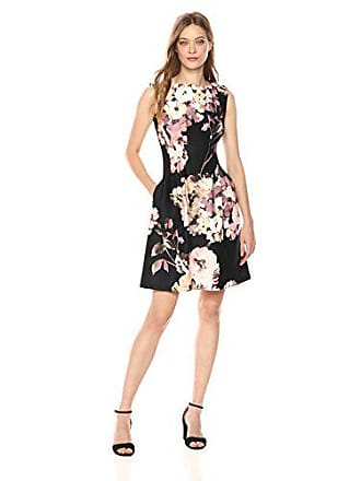 Taylor Dresses Womens Garden Floral Fit and Flare Dress, Black/Multi, 8