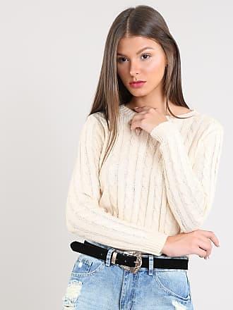 Basics Suéter Feminino Básico Cropped em Tricô Bege Claro