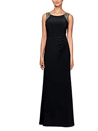 Alex Evenings Womens Beaded Scoop Back Dress with Side Ruched Skirt, Black 16