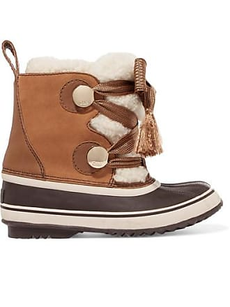 Chloé + Sorel Crosta Leather-trimmed Suede And Shearling Boots - Brown