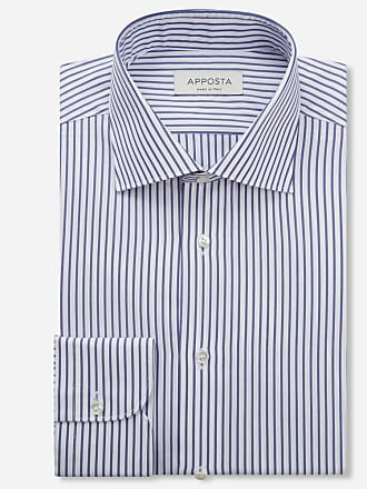 Apposta Camicia righe blu 100% puro cotone zephir doppio ritorto giza 45, collo stile semifrancese