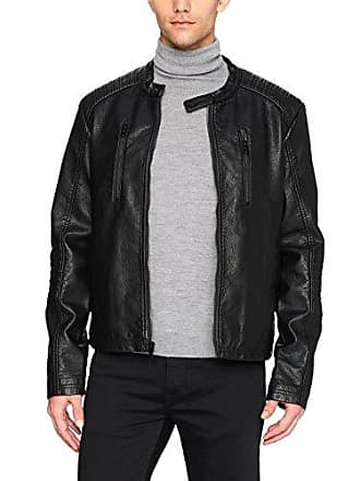 William Rast Mens Faux Leather Textured Moto Bikers Jacket, Black, Large