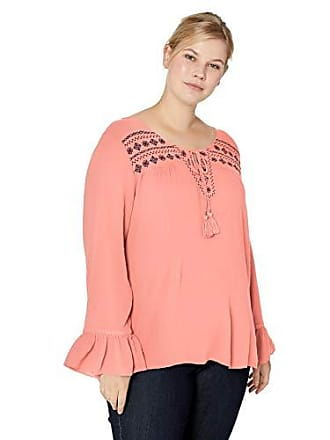 Oneworld Womens Plus-Size Ruffle Sleeve Embroidered Peasant Top, Desert Sand/Evening Wish, 2X