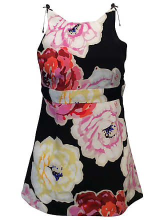 7220bf7289098 Chanel Black Silk Top W  Multicolored Camellias And Gunmetal Baubles  Sz34 us2
