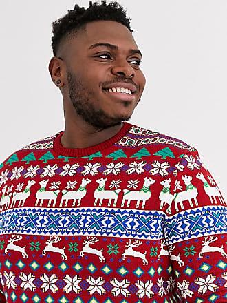 Asos Plus - Kersttrui met lama-ontwerp-Rood