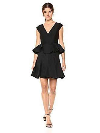 Halston Heritage Womens Cap Sleeve V Neck Dress with Peplum, Black, 4