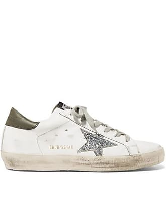the best attitude 6fc1f fcd2c Golden Goose Superstar Distressed Glitter-trimmed Leather Sneakers - White