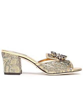 b6939ddea Dolce & Gabbana Dolce & Gabbana Woman Leather-trimmed Embellished Brocade  Mules Gold Size 38