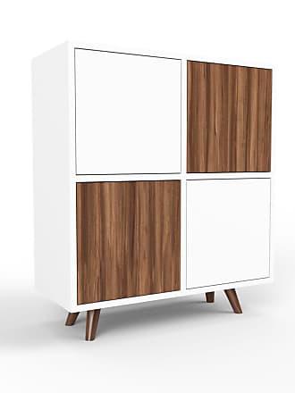 MYCS Sideboard Weiß - Designer-Sideboard: Türen in Nussbaum - Hochwertige Materialien - 79 x 91 x 35 cm, Individuell konfigurierbar