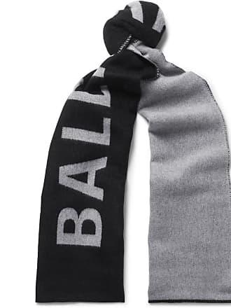 Balenciaga Logo-jacquard Wool Scarf - Black