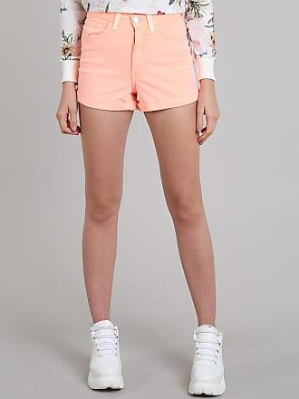 6c5e3bc55 C&A Short Feminino Hot Pant Cintura Alta Laranja Neon