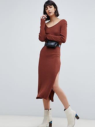 022bcad96df0 Asos Vestito midi in maglia a coste con collo asimmetrico - Rosso