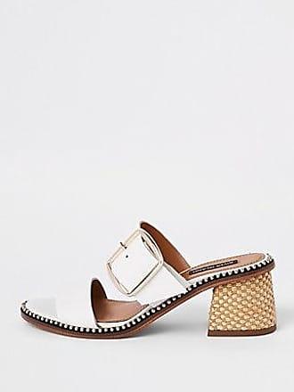 adeca0eb823f River Island Womens White leather block heel mule