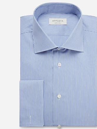 Apposta Camicia righe azzurro 100% cotone no stiro popeline, collo stile semifrancese, polso da gemelli