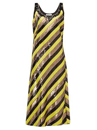 e7895d1ea99 Diane Von Fürstenberg Luisa Scoop Neck Sequin Striped Silk Midi Dress -  Womens - Yellow Multi