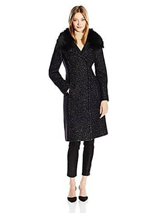 0c0d455339b4 Elie Tahari Womens Anna Tailored Fitted Wool Coat with Real Fur Collar,  Black, M