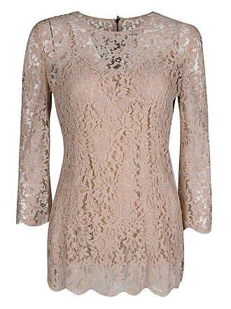 62e91a59ba1e36 Dolce   Gabbana Dolce And Gabbana Blush Pink Floral Lace Scallop Trim Long  Sleeve Blouse M