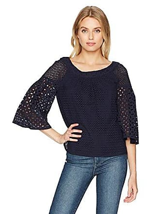 Trina Turk Womens Coit Eyelet Exaggerated Sleeve Top, Indigo, XL