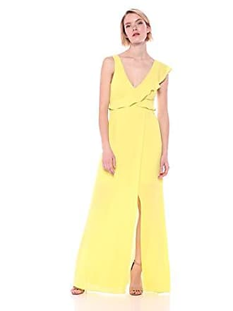 Bcbgmaxazria BCBGMax Azria Womens Open Back Ruffle Gown, Light Lemongrass, 8