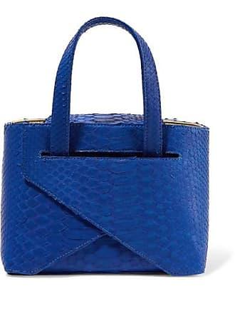 Ximena Kavalekas Mimi Folded Python Tote - Cobalt blue
