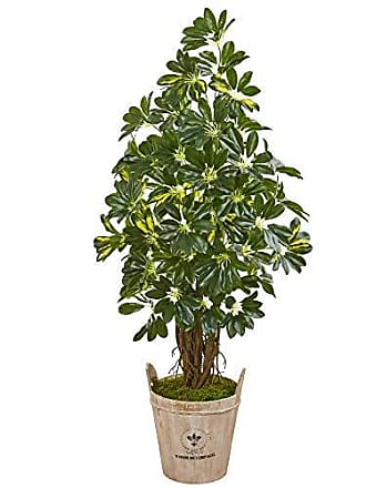 Nearly Natural 9327 4.5-Ft. Schefflera Artificial Farmhouse Planter Silk Trees Green