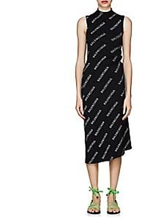 0339fc613710 Balenciaga Womens Logo Rib-Knit Wrap Dress - Black Size M