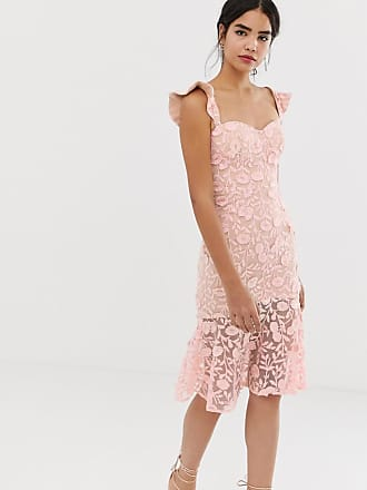 cda7640fd8c Jarlo all over lace embroidered midi dress with frilly off shoulder detail  in pink - Pink