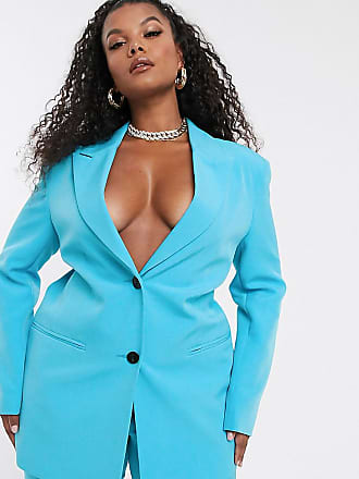 Asos Curve ASOS DESIGN Curve - Blazer da abito sciancrato pop-Blu