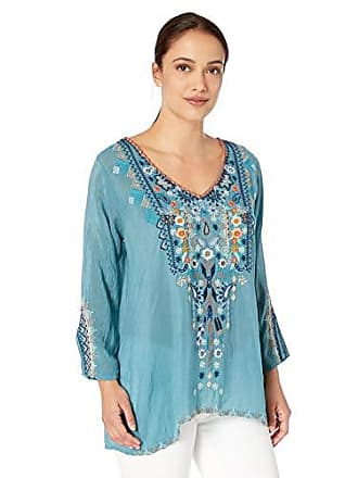 Johnny Was Womens V-Neck Blouse with Embroidery, steam Blue S