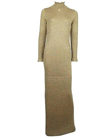 Chanel Gold Lame Knit Gown Maxi Dress 42 09a