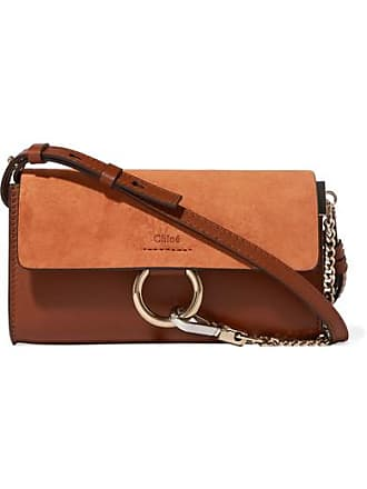 Chloé Faye Mini Leather And Suede Shoulder Bag - Tan