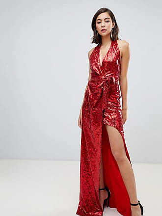 99be4f41047 City Goddess Halter Neck Sequin Maxi Dress With Split Detail - Red