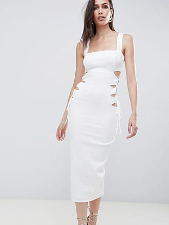 Asos Vestito midi in tessuto operato con scollo quadrato e cut-out - Bianco 9660f582318