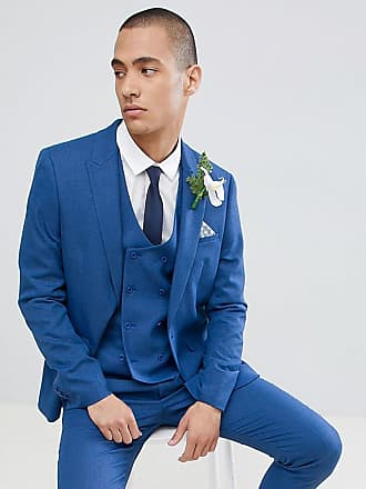 b7206c6830eb5 Asos Chaqueta de traje ajustada con microtextura en azul de ASOS DESIGN  Wedding