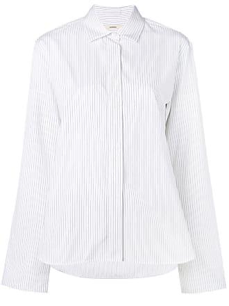 Odeeh Camisa listrada com botões - Branco