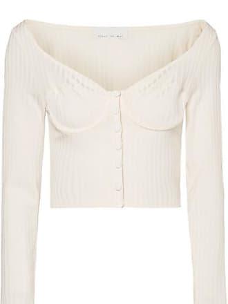 Fleur du Mal Cropped Button-embellished Ribbed-knit Top - Cream